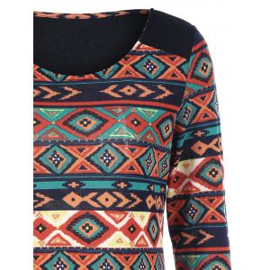 Zipper Decorated Sleeve Aztec Dress -