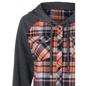 Button Up Flap Pockets Plaid Hoodie - CHECKED XL