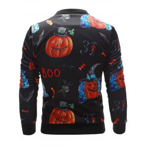 3D Pumpkin Face Printed Zip Up Halloween Jacket -