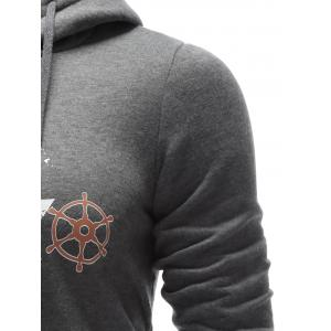 Drawstring Graphic Pullover Hoodie - GRAY XL