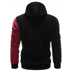 Contrast Paneled Side Pocket Raglan Sleeve Hoodie - BLACK XL