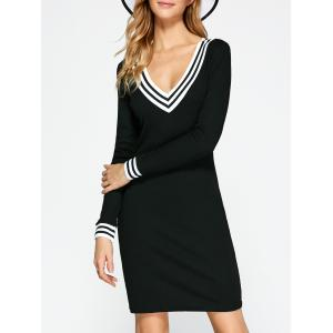 Cricket Long Sleeve Knitted Sweater Shirt Dress - Black - S