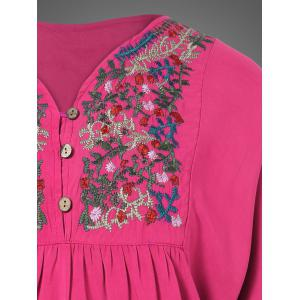 Plus Size Embroidered Bib Relaxed Dress - ROSE RED ONE SIZE