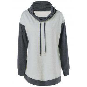 Plus Size Cowl Neck Drawstring Sweatshirt