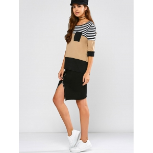 Stripe Patchy Pocket Raglan Tee -