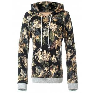 Retro Floral Pullover Hoodie
