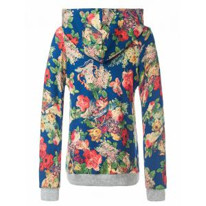 Retro Floral Painting Pullover Hoodie - BLUE XL