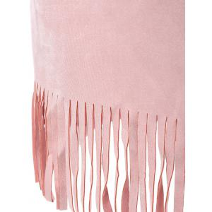 Suede Fringed Dress With Belt -