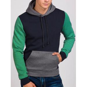 Contrast Color Kangaroo Pocket Drawstring Hoodie -