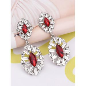 Faux Crystal Rhinestone Waterdrop Earrings - RED