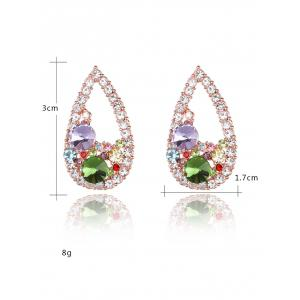 Colorful Rhinestone Waterdrop Stud Earrings - YELLOW