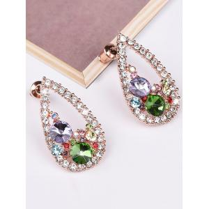 Colorful Rhinestone Waterdrop Stud Earrings -