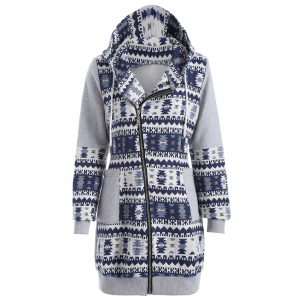 Zip Up Tribal Jacquard Hoodie