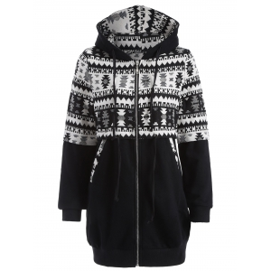 Zip Up Tribal Jacquard Drawstring Hoodie