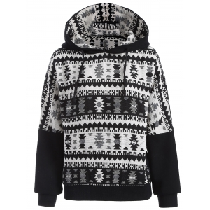 Jacquard Tribal Drawstring Pullover Hoodie - White And Black - M