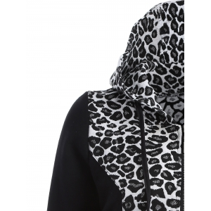 Zip Up Leopard Jacquard Hoodie - WHITE AND BLACK 2XL