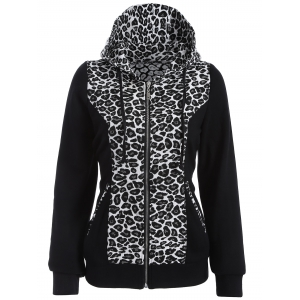 Zip Up Leopard Jacquard Hoodie - White And Black - M