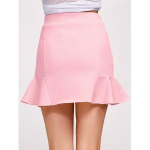 Flounce High Waist Skirt - PINK L