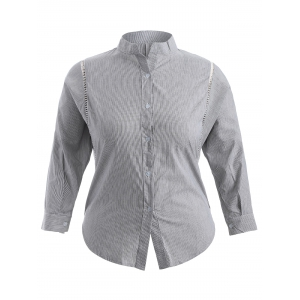 Plus Size Pinstriped Openwork Blouse