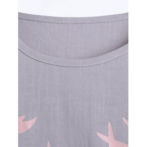 Deer Print High Low Linen T-Shirt -