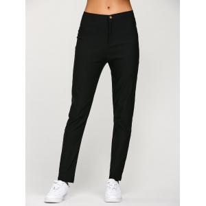 Chino Concise Slim Capri Pencil Work Pants - Black - Xl