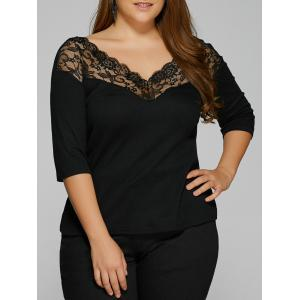 Plus Size Lace Trim Backless T-Shirt