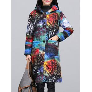 Ethnic Style Color Block Paint Quilted Coat - Colormix - M
