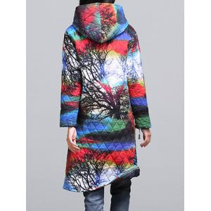 Ethnic Style Color Block Paint Quilted Coat - COLORMIX M