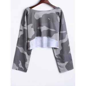Camouflage Drop Shoulder Crop Top