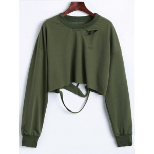 Batwing Drop Shoulder Ripped Crop Top - Army Green - Xl