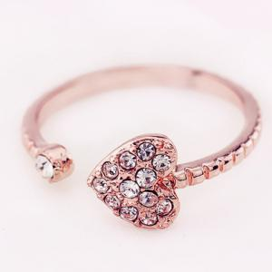Rhinestone Heart Cuff Ring -