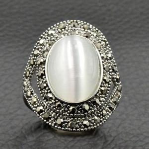 Vintage Artificial Opal Oval Ring -