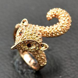 Rhinestone Fox Ring