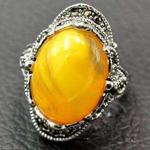 Artificial Gem Oval Engraved Ring - YELLOW 19