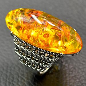 Artificial Gemstone Oval Ring - YELLOW 18