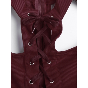 Criss Cross Bandage Lace Up Bodysuit - WINE RED S