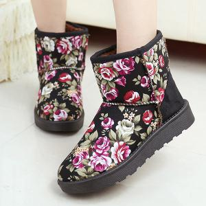 Splicing Floral Print Colour Block Snow Boots -