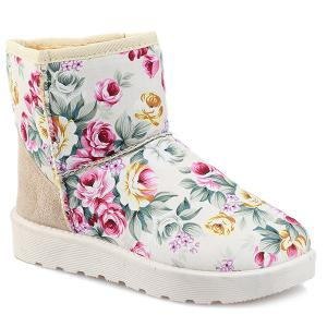 Splicing Floral Print Colour Block Snow Boots