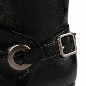 Round Toe Buckle Strap Short Boots - BLACK 39