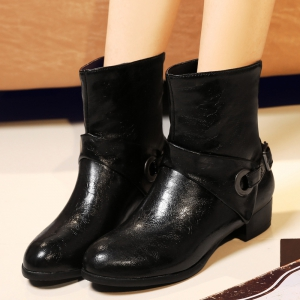 Round Toe Buckle Strap Short Boots -