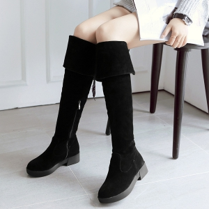 Tie Up Zipper Flat Heel Thigh Boots - Black - 39