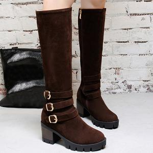 Zip Buckle Straps Boots - Coffee - 38
