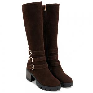 Zip Buckle Straps Boots - COFFEE 38