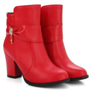 Metal Rhinestones Zipper Ankle Boots - RED 40