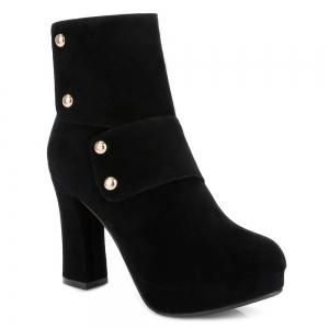 Zipper Studded Platform Ankle Boots - Black - 40