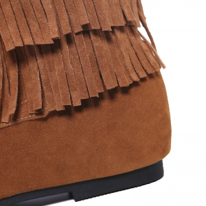 Stitching Hidden Wedge Lace Up Boots - BROWN 39