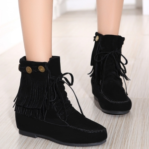 Stitching Hidden Wedge Lace Up Boots