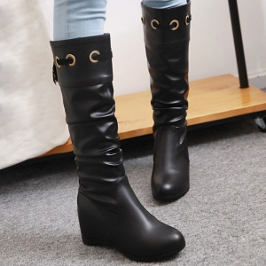 Hidden Wedge Faux Leather Boots -