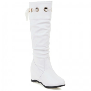 Hidden Wedge Faux Leather Boots - White - 37