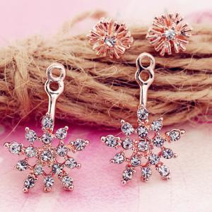 Rhinestone Snowflake Drop Earrings -